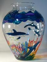 Dolphins, Handpainted on Crystal