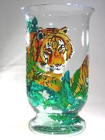 Pair of Tigers, Handpainted on a Crystal Vase